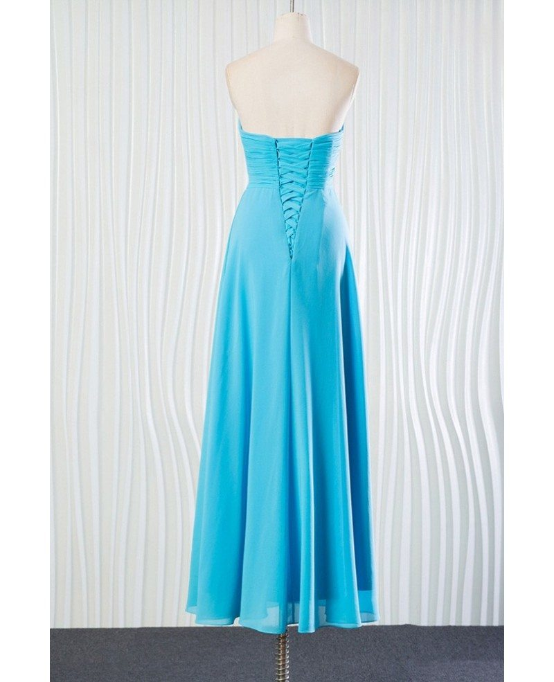 Elegant long chiffon aqua bridesmaid dress for beach for Long elegant dresses for weddings