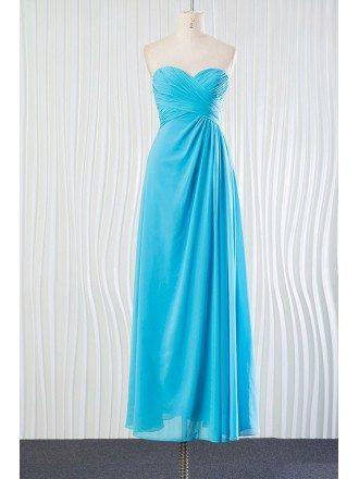 Elegant Long Chiffon Aqua Bridesmaid Dress for Beach Weddings