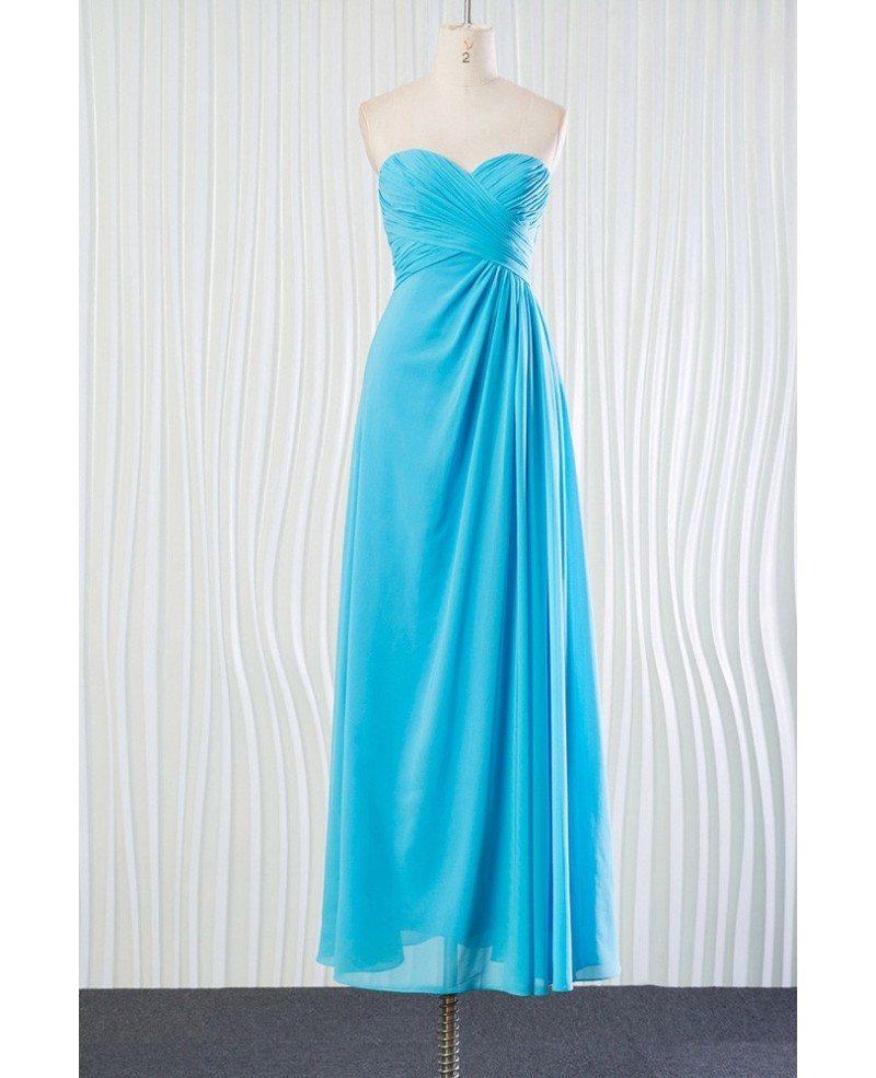 Elegant Long Chiffon Aqua Bridesmaid Dress For Beach