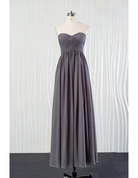 Grace Love Simple Long Grey Bridesmaid Dress In Chiffon For Summer Weddings