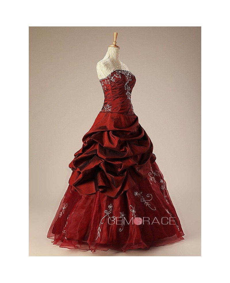 Burgundy Ballgown Embroidered Strapless Long Gown With