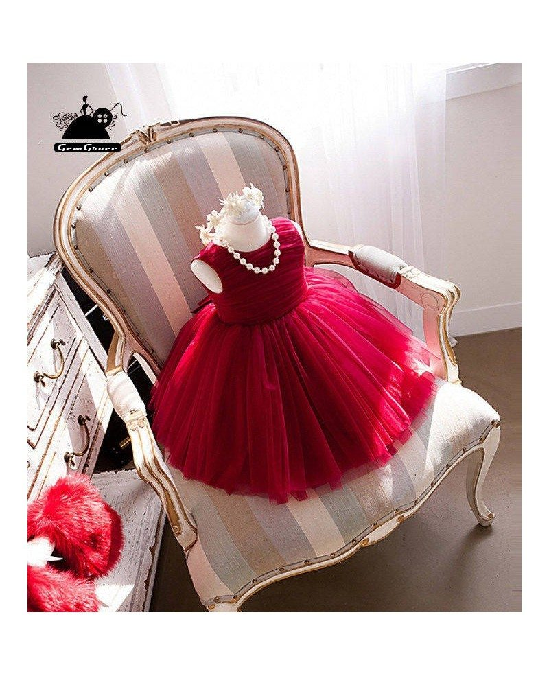 Super cute fuchsia tutu tulle flower girl dress for for Fuchsia dress for wedding