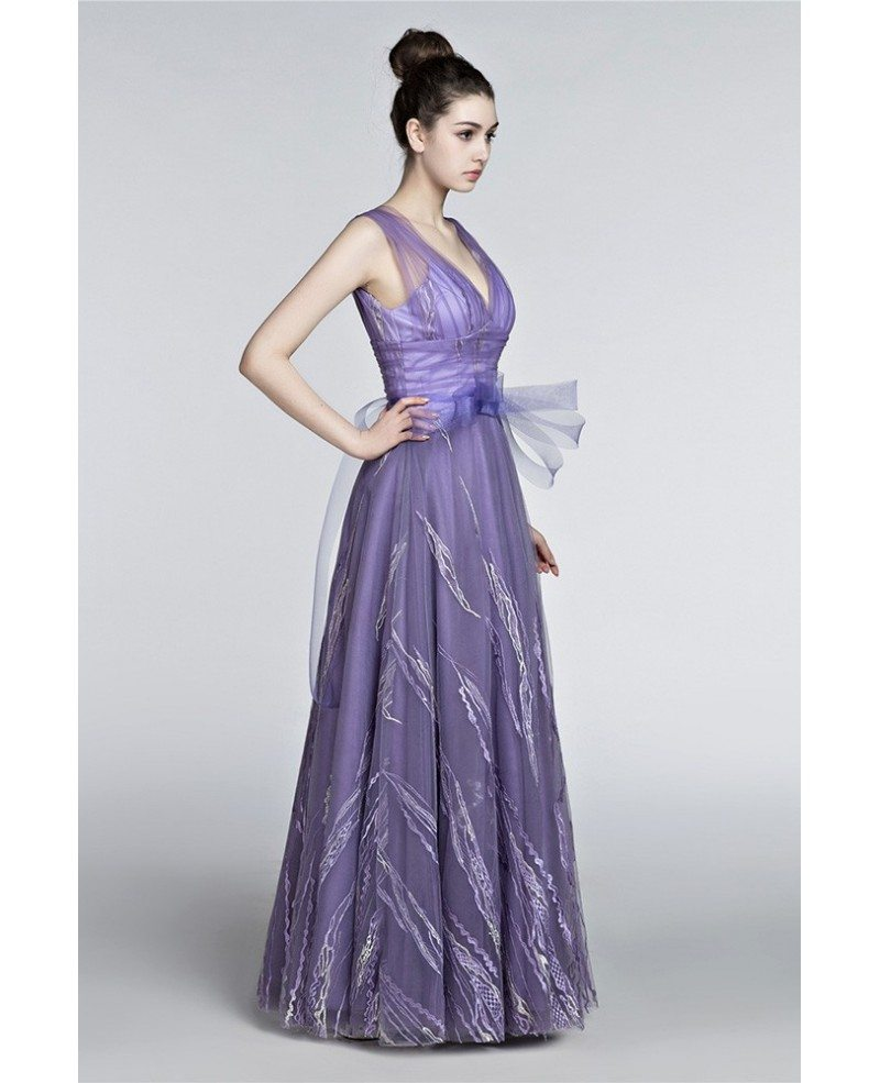 2018 Gorgeous V-neck A Line Prom Dress Lavender With Straps #H76011 ...