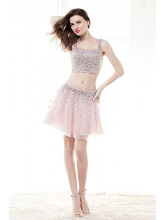 Sparkly 2 Piece Crop Top Prom Dress Cocktail With Sequins Crystals