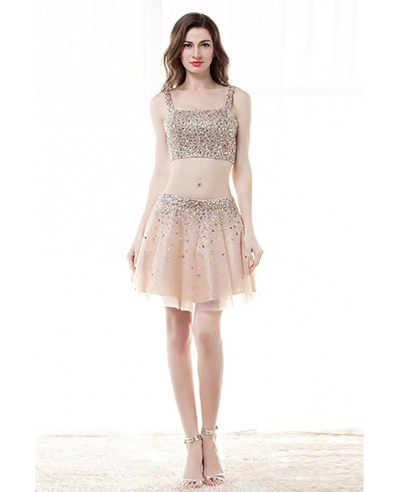 Sparkly 2 Piece Crop Top Prom Dress Cocktail With Sequins Crystals ...