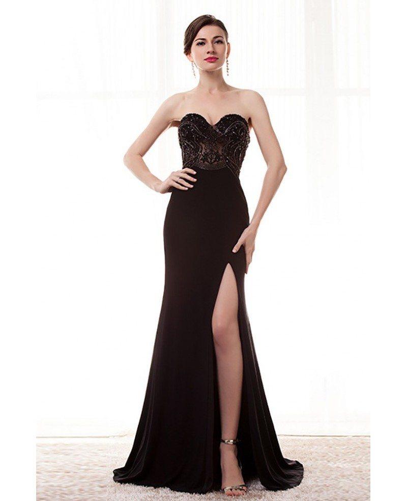 Strapless Slit Black Formal Prom Dress With Beading Bodice #H76044 ...