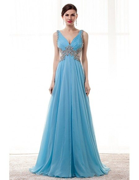 Flowy Long Sky Blue Prom Dress Beaded With Straps Sheer Back ...