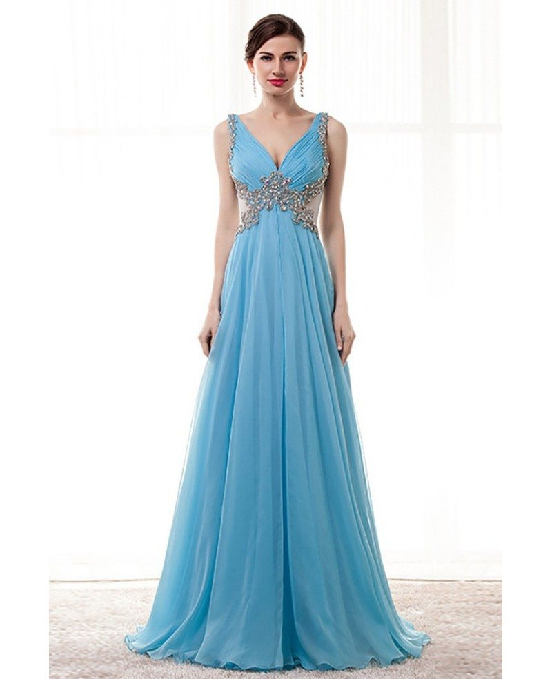 Flowy Long Sky Blue Prom Dress Beaded With Straps Sheer Back #H76045 ...