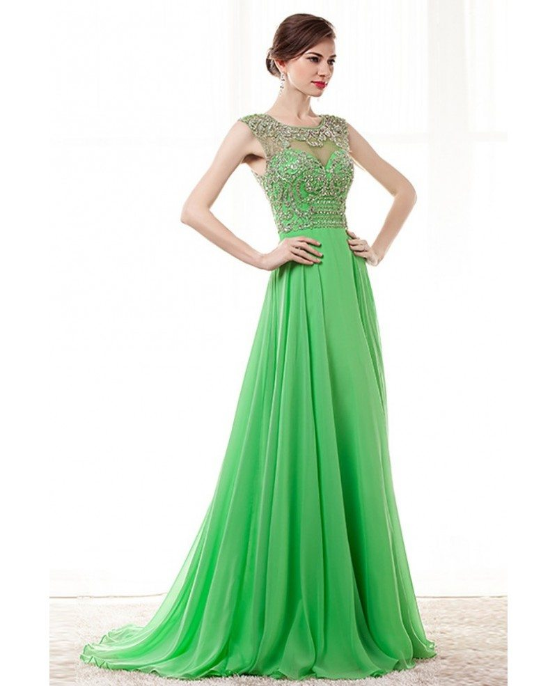 2018 Lime Green Long Beading Prom Dress With Key Hole Back #H76046 - GemGrace.com