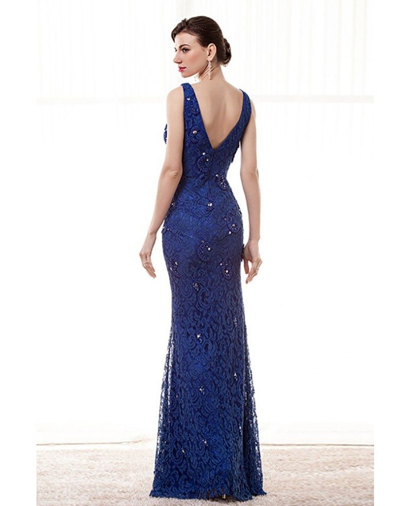 Blue dark lace prom dress recommendations dress for autumn in 2019