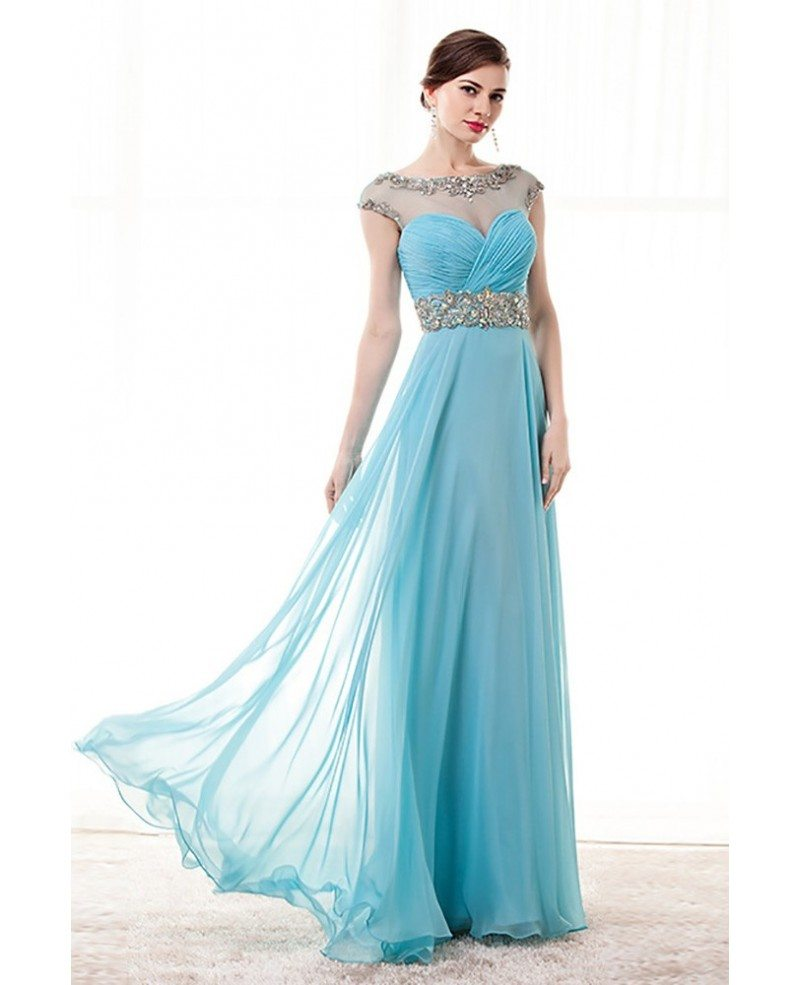 Sky Blue A Line Beaded Prom Dress Long With Open Back 2018 #H76052 ...