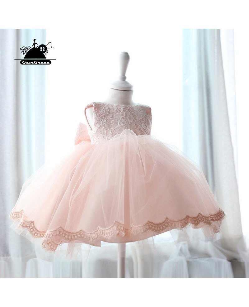 Pink Lace Princess Ballgown Flower Girl Dress Vintage Puffy Tulle