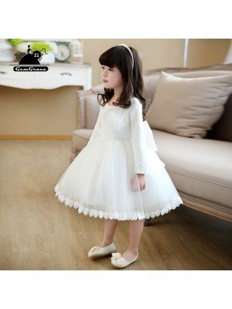 Ivory Tutu Princess Flower Girl Dress Elegant Ballgown Pageant Gown