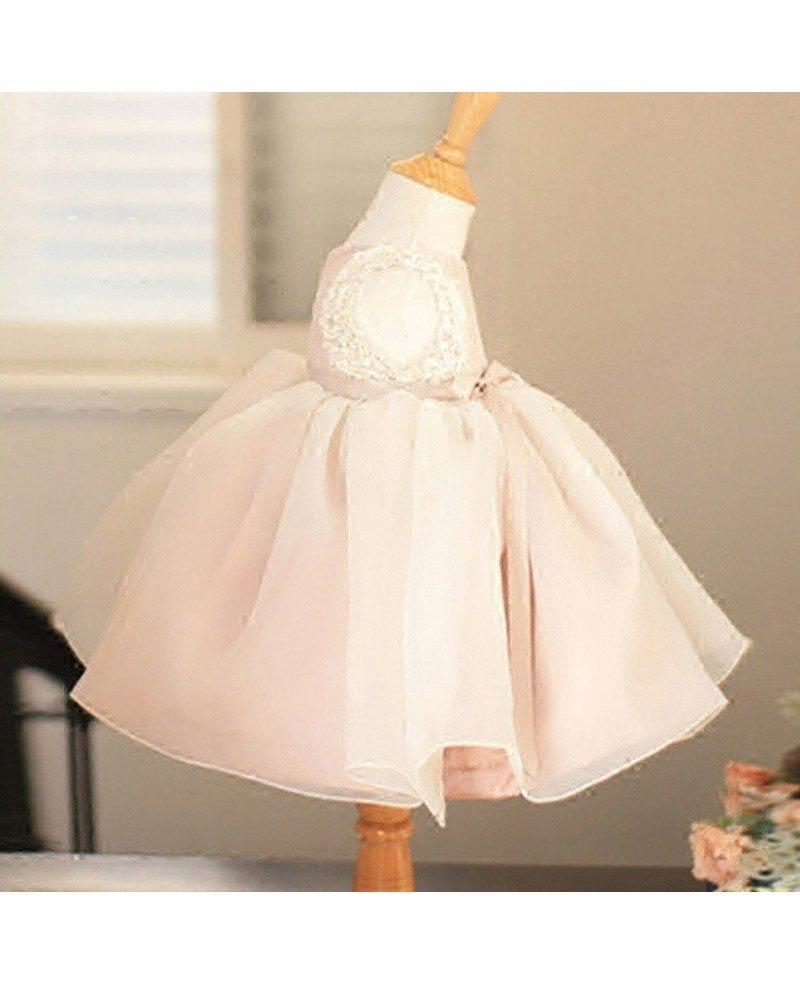 Vintage Blush Pink Tulle Flower Girl Dress Tutus Wedding Dress For ...
