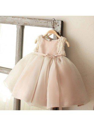 Vintage Blush Pink Tulle Flower Girl Dress Tutus Wedding Dress For Girls