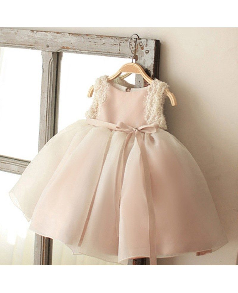 Vintage Blush Pink Tulle Flower Girl Dress Tutus Wedding Dress For