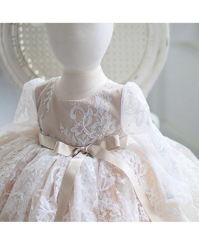 Ivory Vintage Lace Flower Girl Dress Long Sleeves Tutu ...  Ivory Lace Vintage Flower Girl Dress