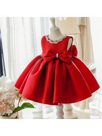 Simple Red Satin Elegant Flower Girl Dress With Big Bow For Wedding Parties