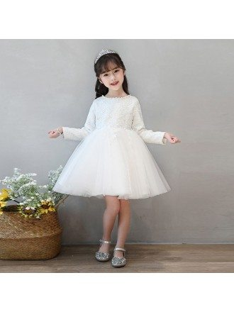 Ivory Lace Long Sleeve Tulle Flower Girl Dress Tutus Ballgown Pageant Dress