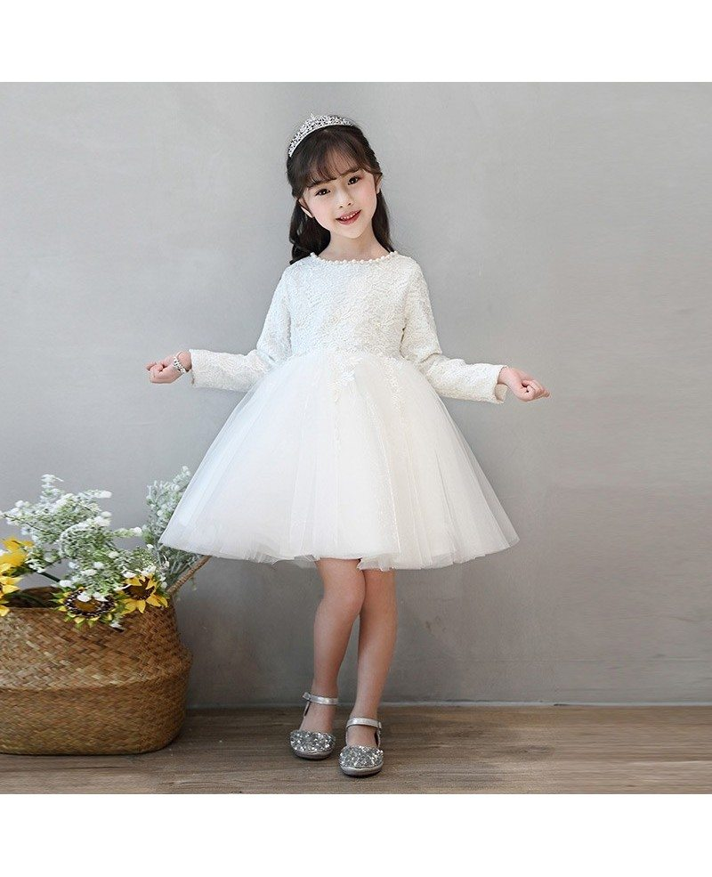 Ivory Lace Long Sleeve Tulle Flower Girl Dress Tutus Ballgown ...