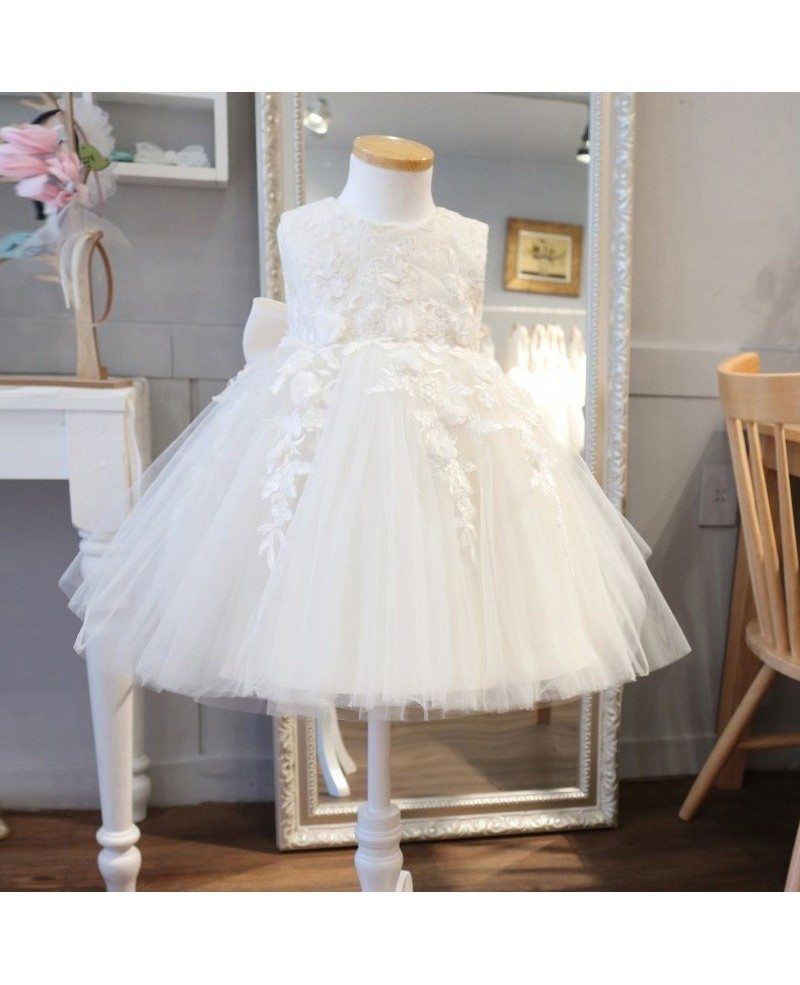 Super Cute Lace Ivory Flower Girl Dress Puffy Tulle Princess Wedding