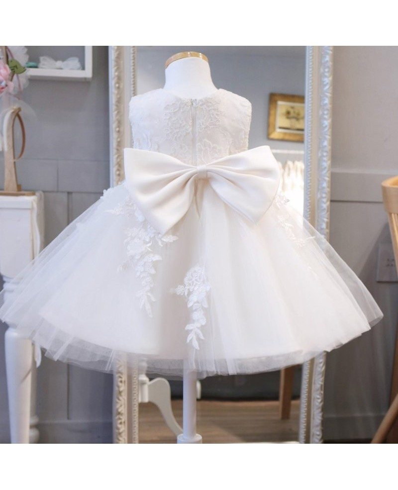 Super cute lace ivory flower girl dress puffy tulle for Cute princess wedding dresses
