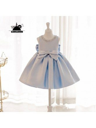 Elegant Light Blue Satin Flower Girl Dress Modern Girls Pageant Gown With Bow