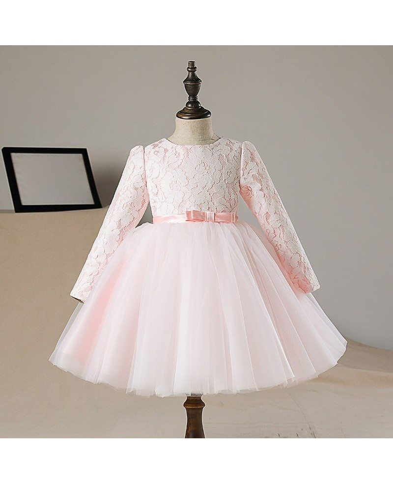 Lovely Peach Pink Lace Tutus Flower Girl Dress With Sleeves Tulle ...