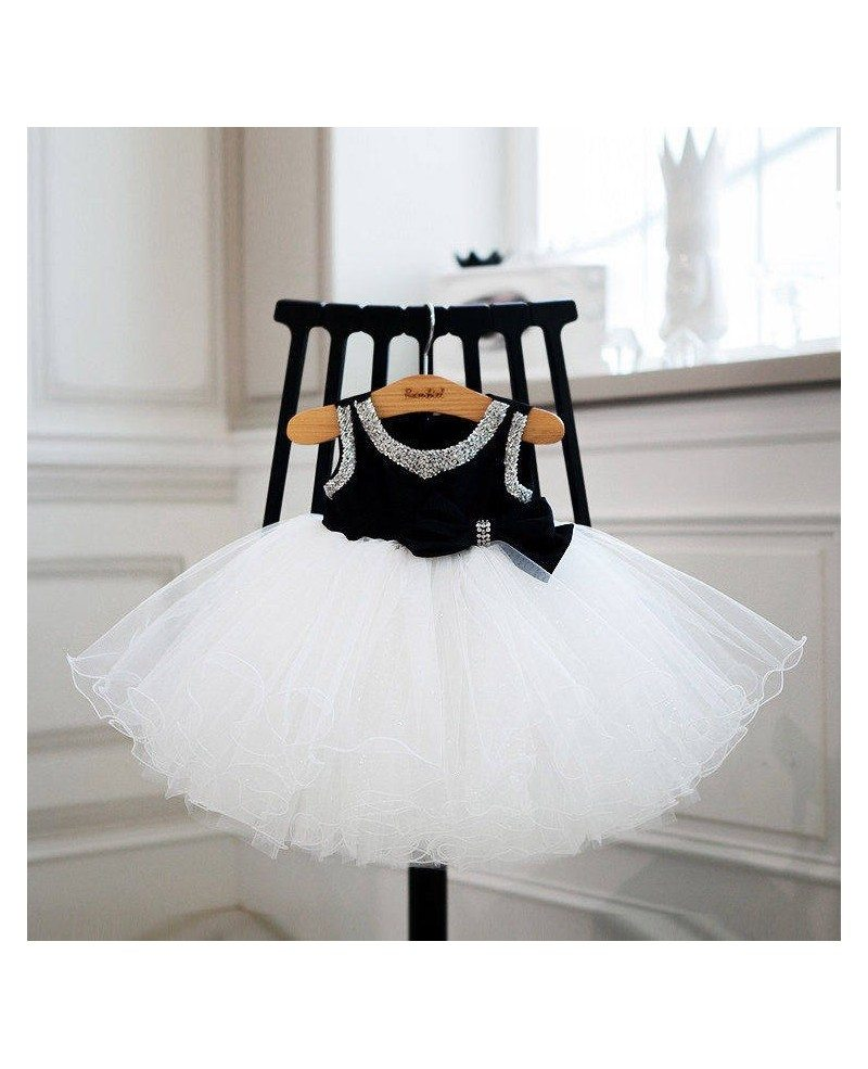 Modern Black And White Tutu Tulle Ballet Flower Girl Dress For Dance