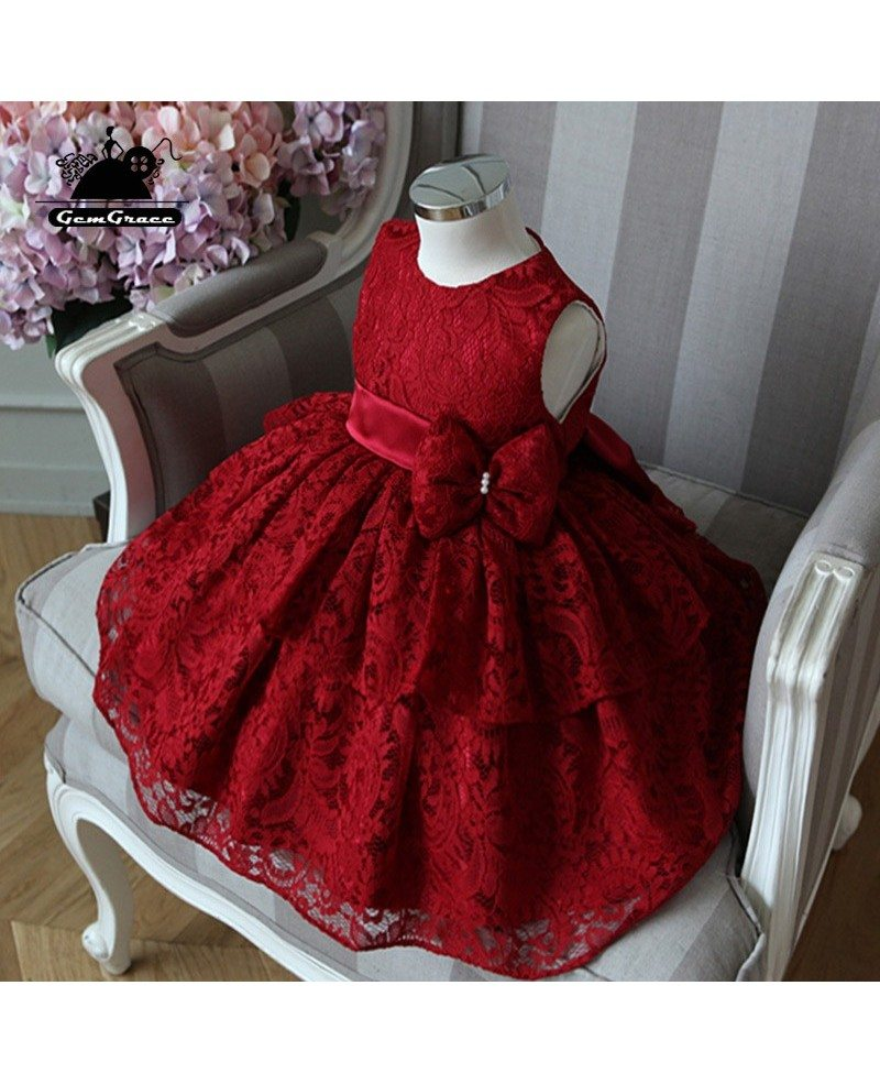 White Flower Girl Dresses With Burgundy Sash
