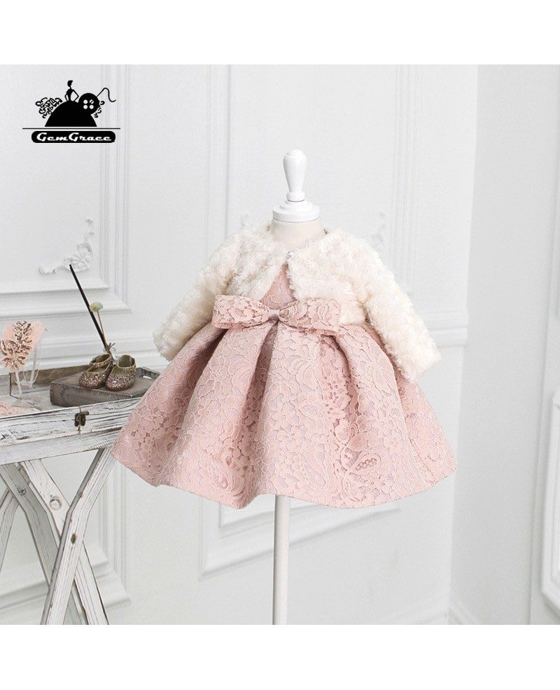 Unique Vintage Blush Pink Lace Flower Girl Dress Elegant For