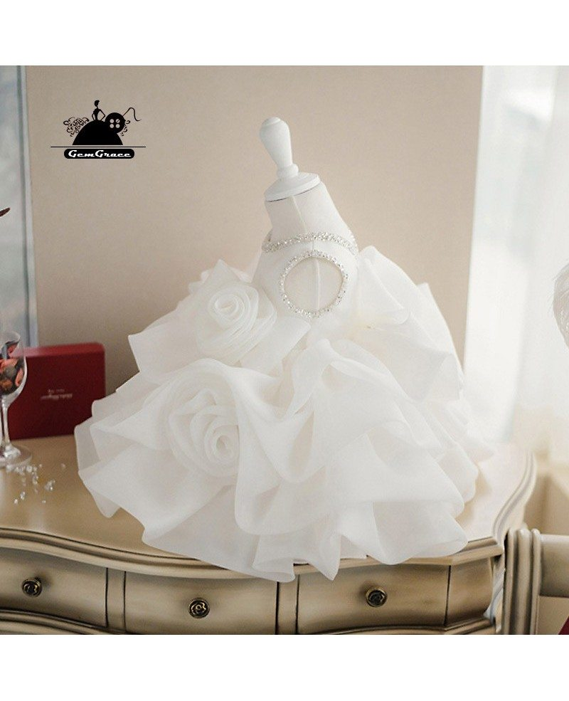 High-end Puffy Princess Ivory Flower Girl Dress Baby Girls Pageant ...