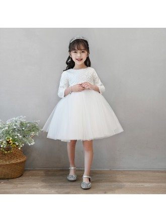 Ivory Tutus Princess Flower Girl Dress With Sleeves Spring Wedding Party
