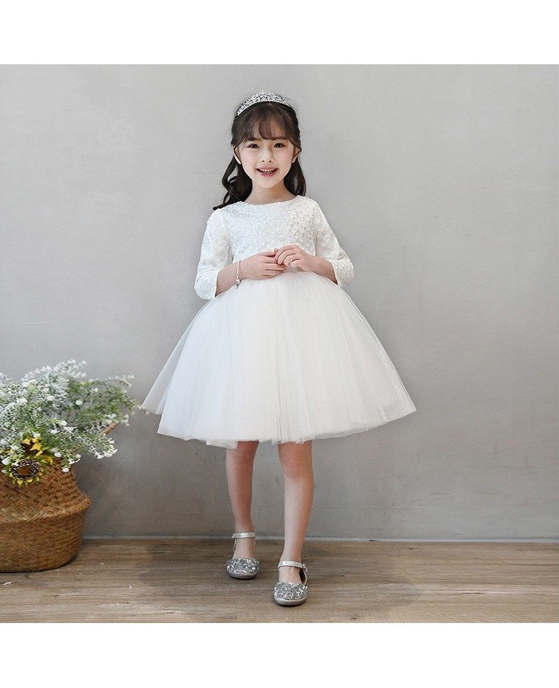 Ivory Tutus Princess Flower Girl Dress With Sleeves Spring Wedding
