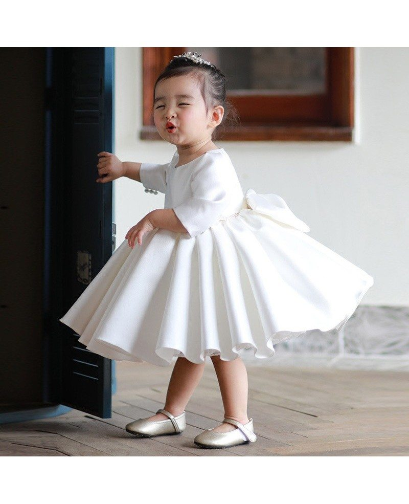High End Ivory Satin Flower Girl Dress Modern With Sleeves Toddler