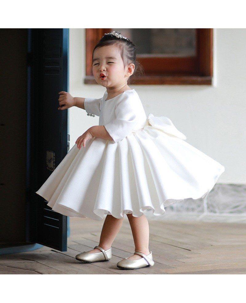 Flower Girl Gowns: High-end Ivory Satin Flower Girl Dress Modern With Sleeves