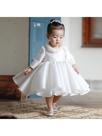 High-end Ivory Satin Flower Girl Dress Modern With Sleeves Toddler Girls Pageant Gown