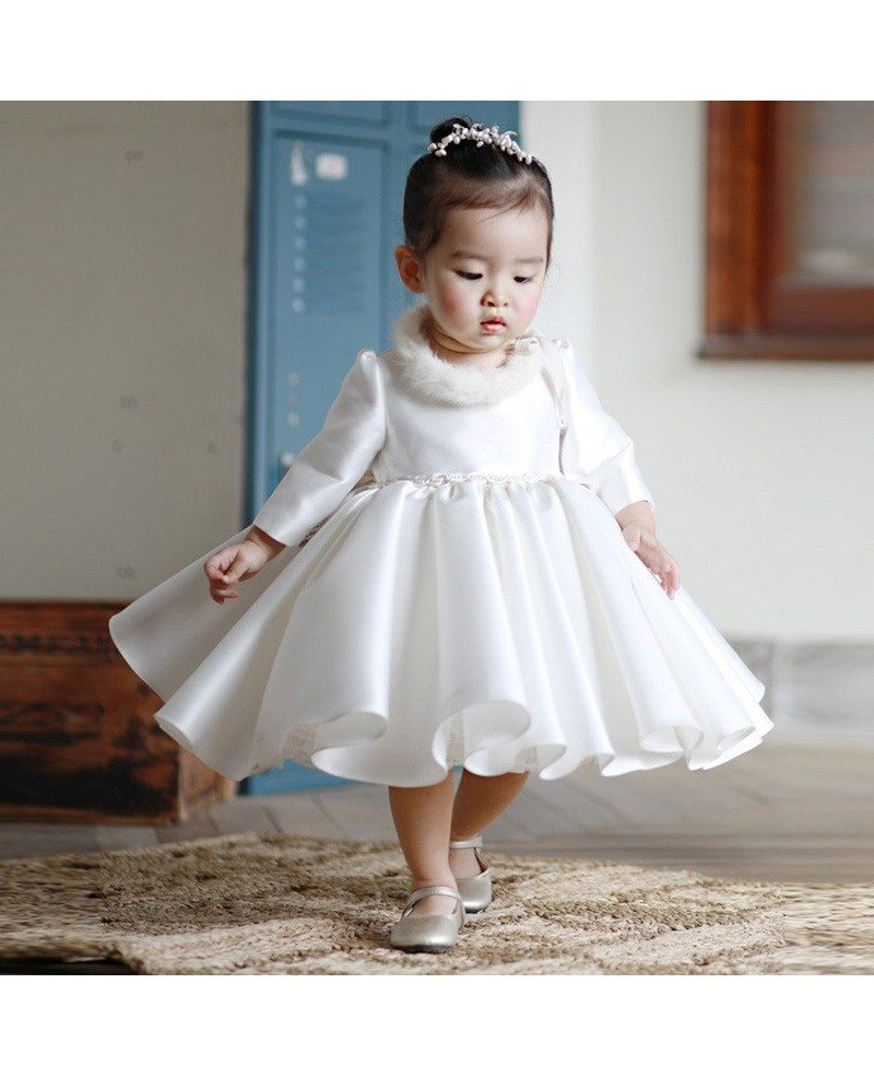 High-end Ivory Satin Flower Girl Dress Modern With Sleeves Toddler ...