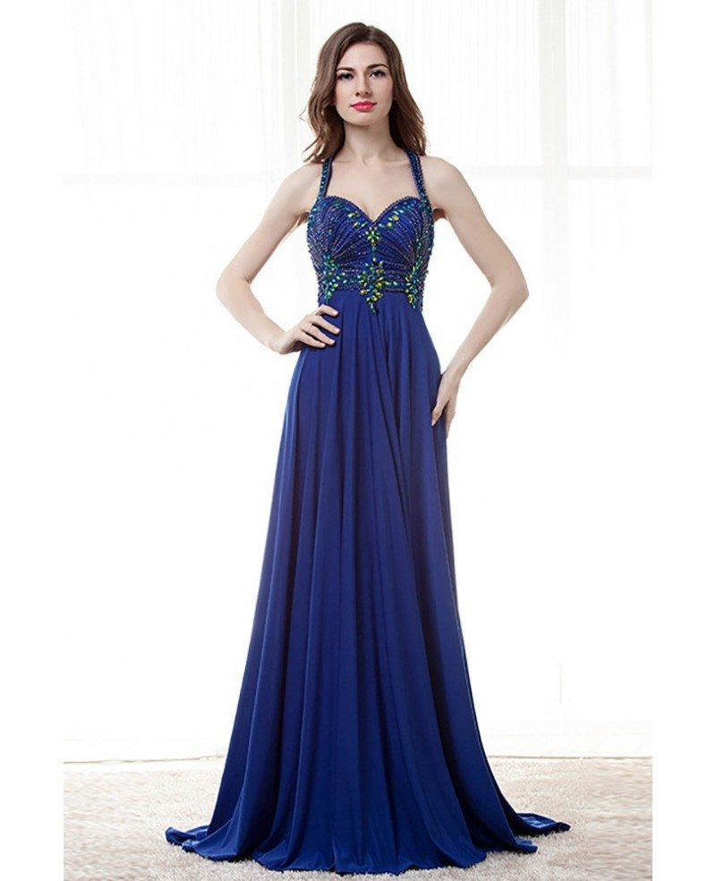 Unique Long Halter Royal Blue Prom Dress With Beaded ...