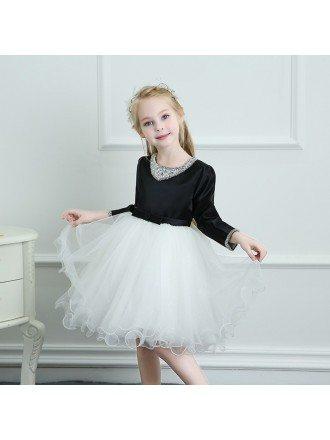 Modern Black And White Tutus Girls Ballet Dress Spring Winter Performance Dress