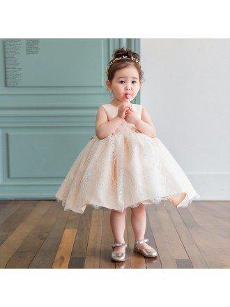 Lovely Blush Pink Lace Poofy Flower Girl Dress Elegant For Weddings