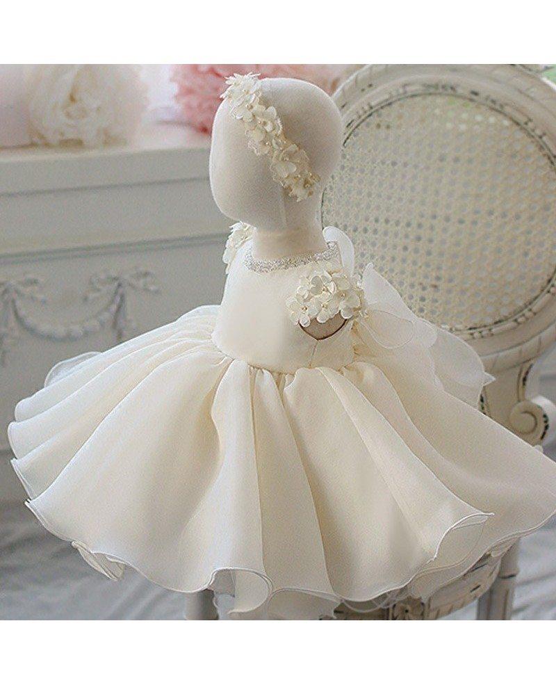 cream white organza petals flower girl dress toddler baby