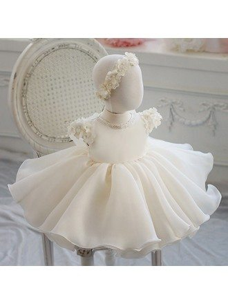 Cream White Organza Petals Flower Girl Dress Toddler Baby Pageant Gown
