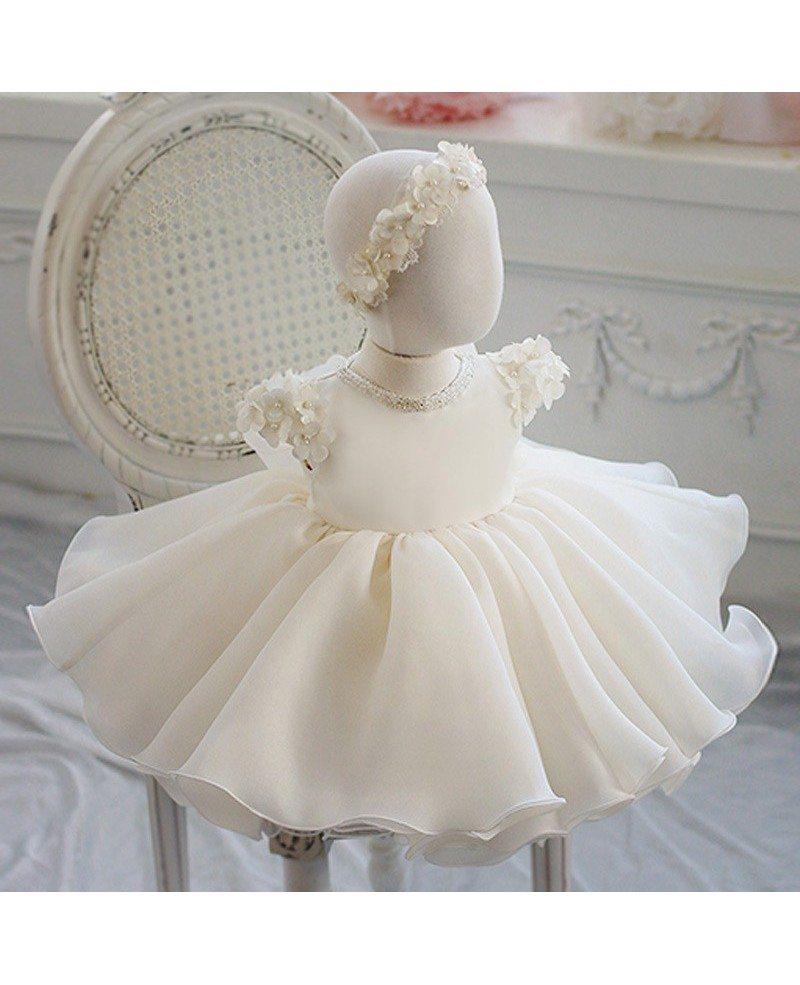 Cream white organza petals flower girl dress toddler baby pageant cream white organza petals flower girl dress toddler baby pageant gown mightylinksfo