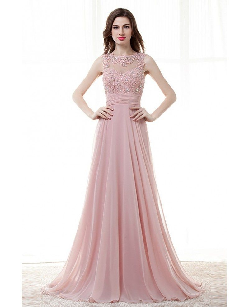 Light Pink A Line Long Prom Dress With Lace Beading Top #H76057 ...