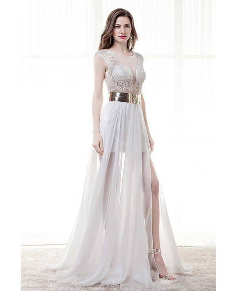 9c410ae6c5 different sexy sheer prom dress white with slit for 2018