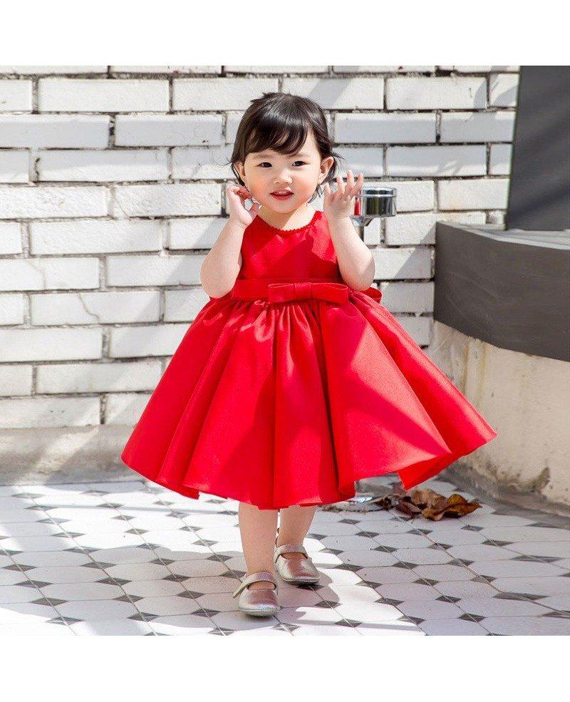 Red Satin Princess Ballgown Flower Girl Dress Girls Performance ...