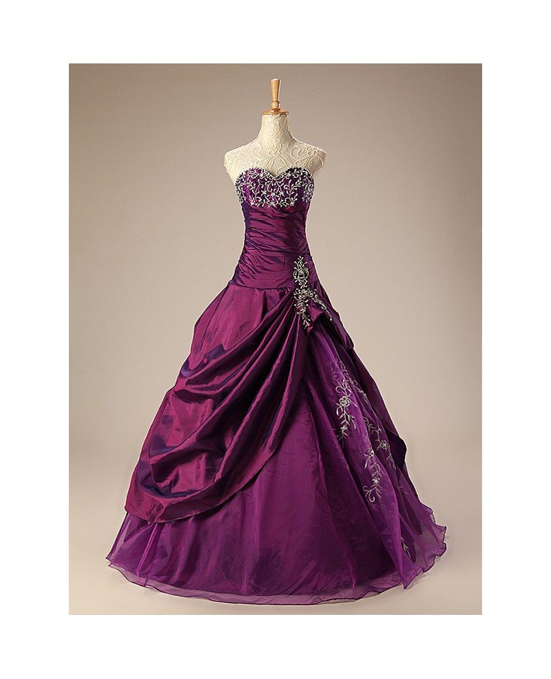 Ballgown Embroidered Sweetheart Taffeta Purple Wedding Dress with ...