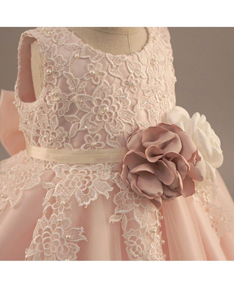 Vintage Lace Blush Pink Flower Girl Dress With Flowers Tutus Wedding