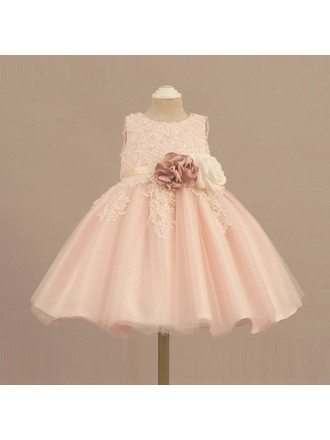 Vintage Lace Blush Pink Flower Girl Dress With Flowers Tutus Wedding Dress
